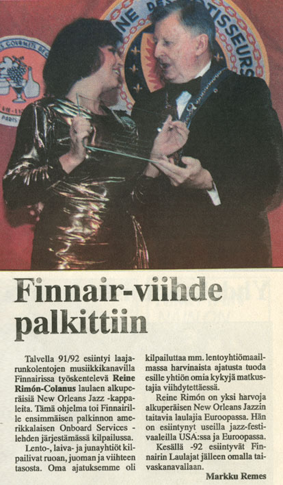 Reine Rimón gets Finnair Award